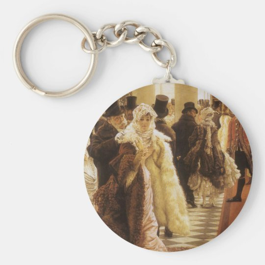 Woman of Fashion by Tissot, Vintage Victorian Art Keychain