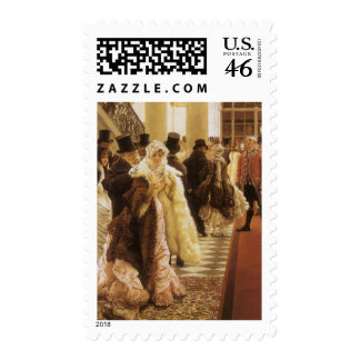 Woman of Fashion by Tissot Vintage Victorian Art Postage Stamps