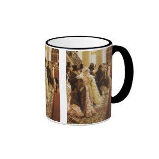 Woman of Fashion by Tissot, Vintage Victorian Art Ringer Mug