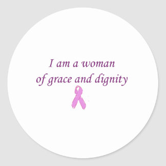 Woman of Grace and Dignity Pink Ribbon Edition Classic Round Sticker