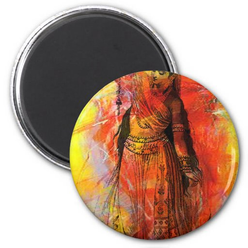 WOMAN OF INDIA WITH SACRED BEADS 2 INCH ROUND MAGNET