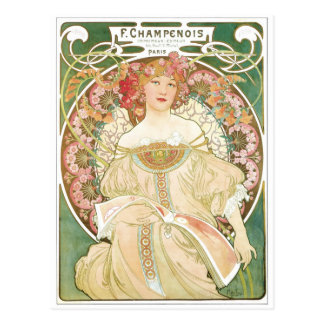 Woman of Leisure Alphonse Mucha Illustration Postcard