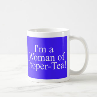 woman of proper tea dark blue coffee mug