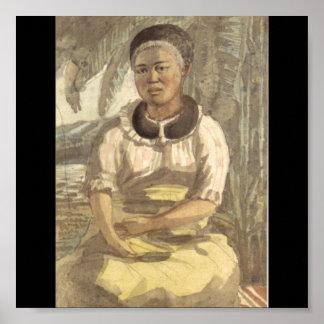Woman of the Sandwich Islands circa 1816. Hawaii Poster