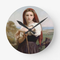 Woman of young shepherd round clock
