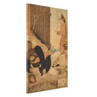 Woman Offering Assistance to a Destitute Man Canvas Print