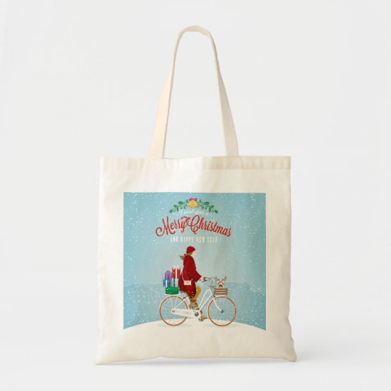 Woman on a Bicycle in Winter Christmas Tote Bag