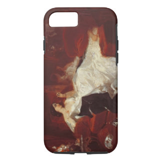 Woman on a red sofa iPhone 8/7 case