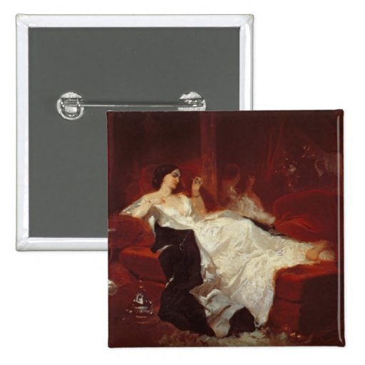 Woman on a red sofa pinback buttons
