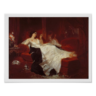 Woman on a red sofa poster