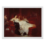 Woman on a red sofa posters