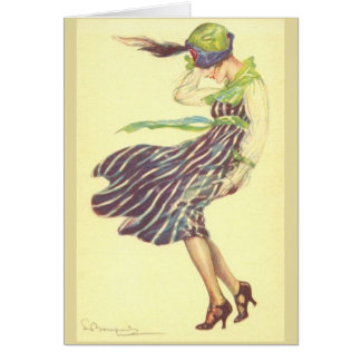 Woman on a Windy Day, Card
