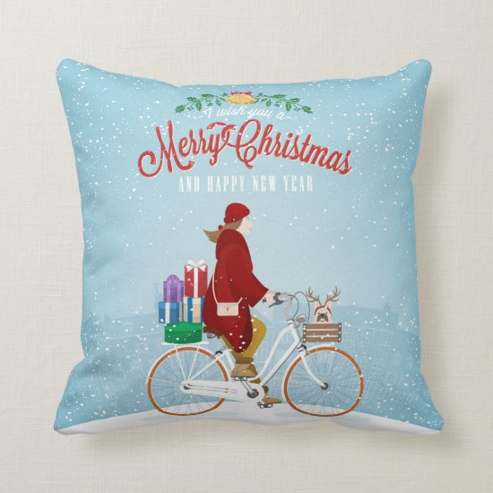 Woman on Bicycle Christmas Pillow
