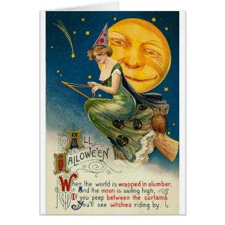 Woman on Broomstick All Halloween Greeting Card
