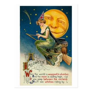 Woman on Broomstick All Halloween Postcard