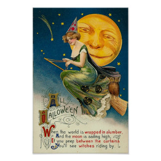 Woman on Broomstick All Halloween Poster