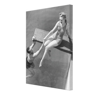 Woman on Diving Board Canvas Print