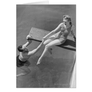 Woman on Diving Board Greeting Cards
