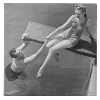 Woman on Diving Board Large Square Tile