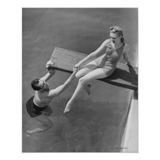 Woman on Diving Board Poster