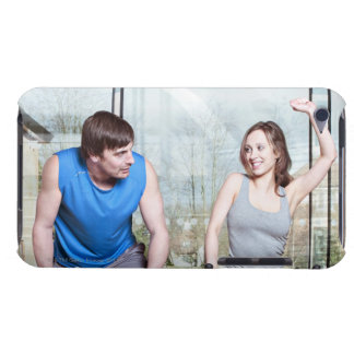 Woman on exercise bike triumphing over man iPod touch case