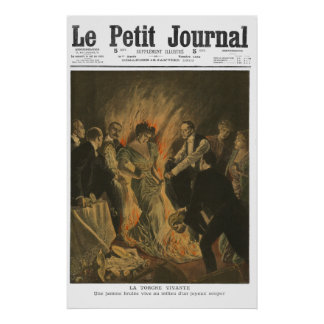 Woman on fire - 1910 French newspaper print