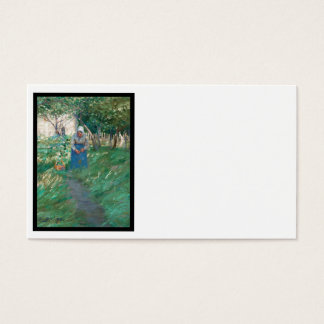 Woman on Garden Pathway Business Card