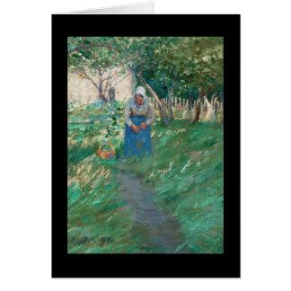 Woman on Garden Pathway Card