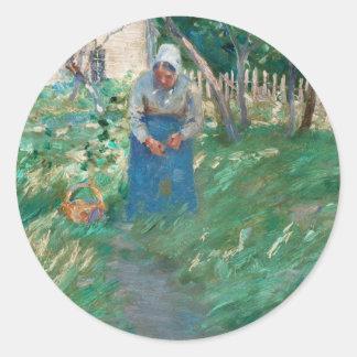Woman on Garden Pathway Classic Round Sticker