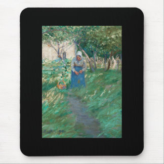 Woman on Garden Pathway Mouse Pad