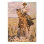 Woman on Horse by Dunton, Vintage Cowgirl Cowboy Greeting Card