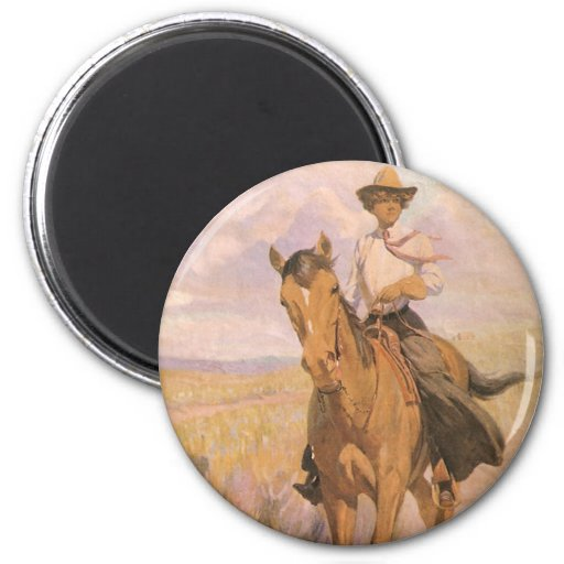 Woman on Horse by Dunton, Vintage Cowgirl Cowboy Fridge Magnet