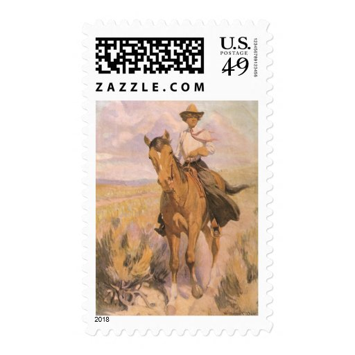 Woman on Horse by Dunton, Vintage Cowgirl Cowboy Stamp