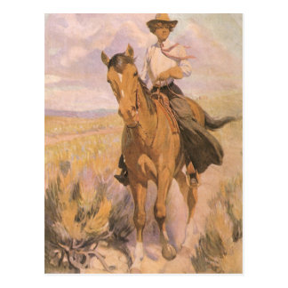 Woman on Horse by Dunton, Vintage Cowgirl Cowboy Postcard