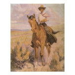 Woman on Horse by Dunton, Vintage Cowgirl Cowboy Poster