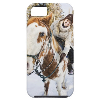 Woman on horse outdoors during winter iPhone SE/5/5s case