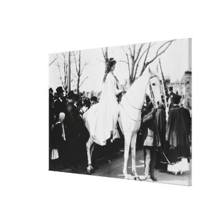 Woman on Horse Woman's Suffrage Parade Photograp Canvas Print