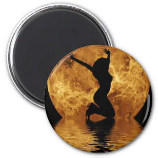 woman on moon 2 inch round magnet