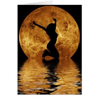 woman on moon card