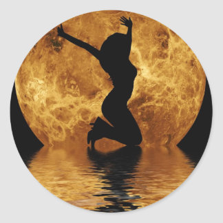 woman on moon classic round sticker