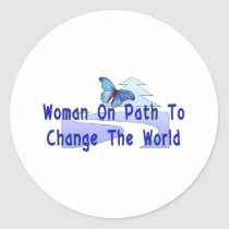 Woman On Path Classic Round Sticker