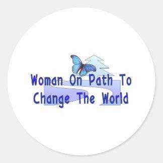 Woman On Path Classic Round Sticker