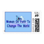 Woman On Path Postage Stamp
