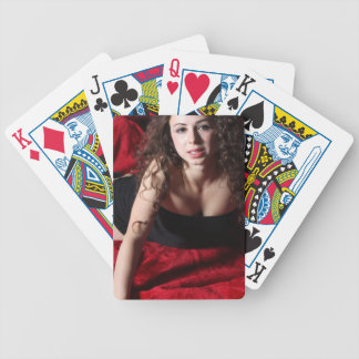 Woman On Red Bicycle Playing Cards