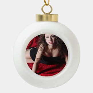 Woman On Red Ceramic Ball Christmas Ornament