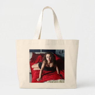 Woman On Red Large Tote Bag