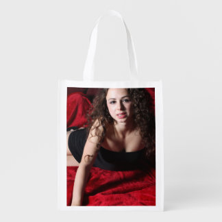 Woman On Red Reusable Grocery Bags