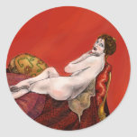Woman on Red Sofa Classic Round Sticker