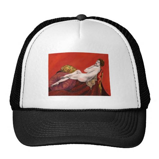 Woman on Red Sofa Trucker Hat