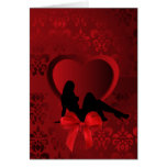 Woman on red Valentines heart damask Greeting Card